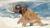 huge ice age animal in frozen wilderness