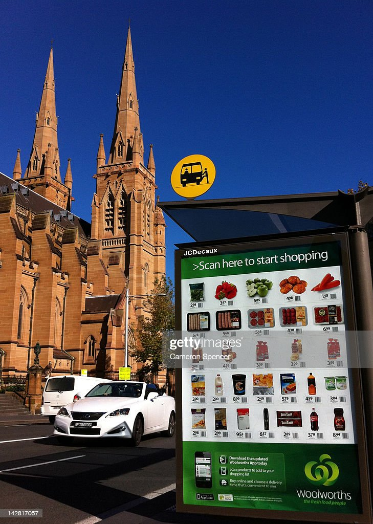 Woolworths advertisement on a bus shelter on April 13 2012 in sydney Australia The supermarket chain introduced an App that allows shoppers to scan...