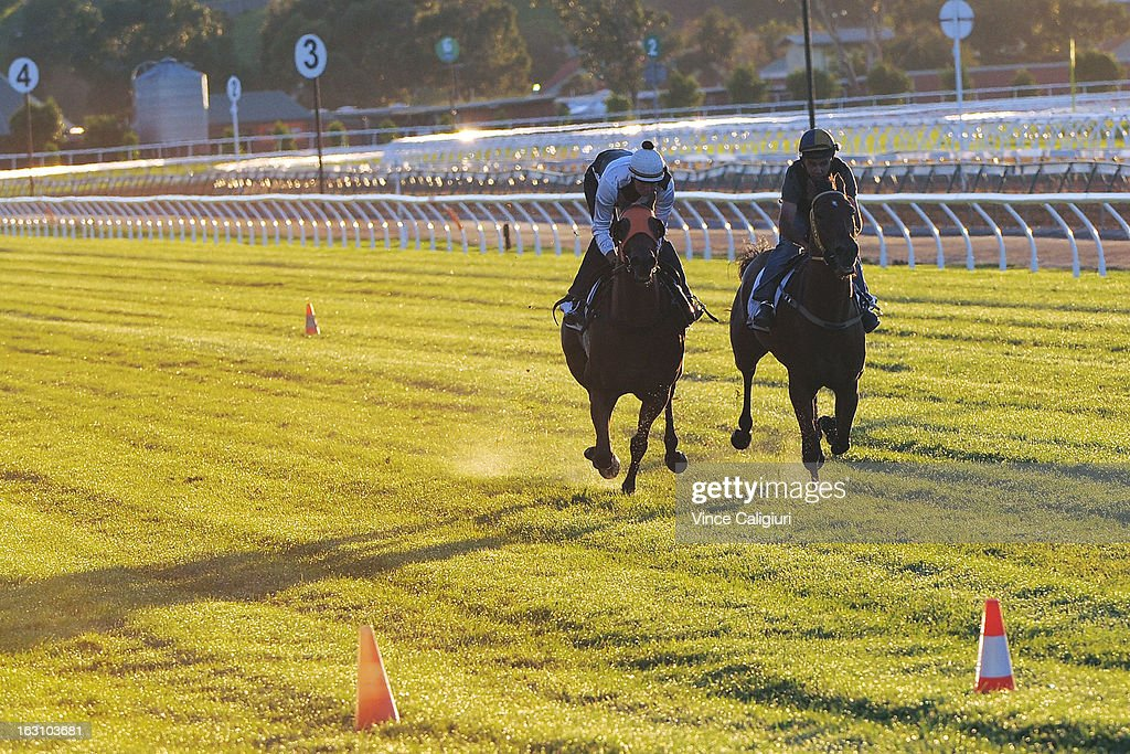 Woorim and Barakey (R) gallop down the straight during a trackwork session at Flemington Racecourse on March 5, 2013 in Melbourne, Australia.