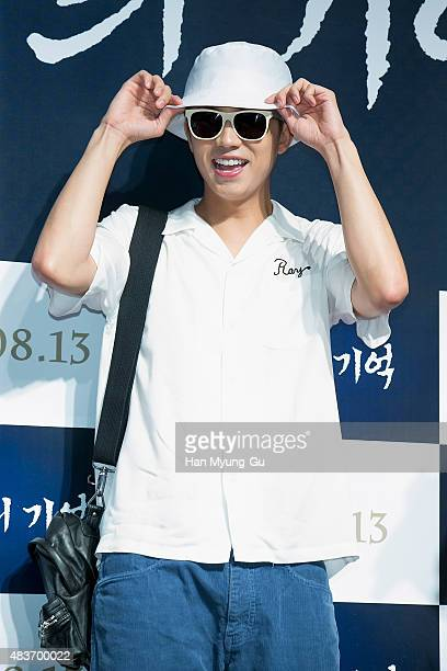 Wooyoung of South Korean boy band 2PM attends the VIP screening for 'Memories Of The Sword' on August 11 2015 in Seoul South Korea The film will open...