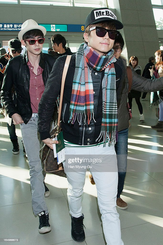 Wooyoung of South Korean boy band 2PM is seen on departure iat Incheon International Airport on March 29, 2013 in Incheon, South Korea.