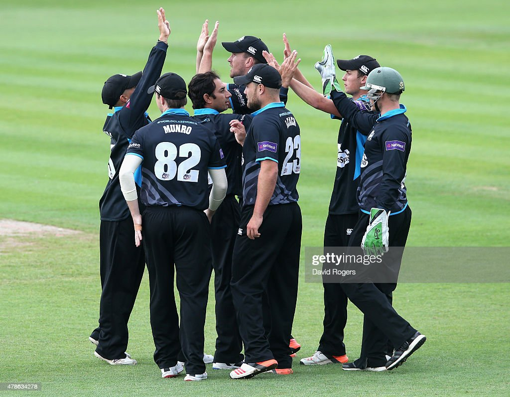 Worcester celebrate after taking the wicket of David Willey during the NatWest T20 Blast match between Worcestershire Rapids and Northamptonshire...