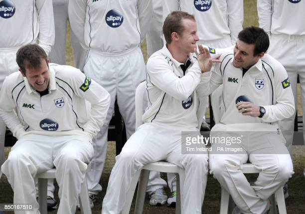 Worcester Cricket's Alan Richardson Alexi Kervezee and Daryl Mitchell joke during the photocall at New Road Worcester
