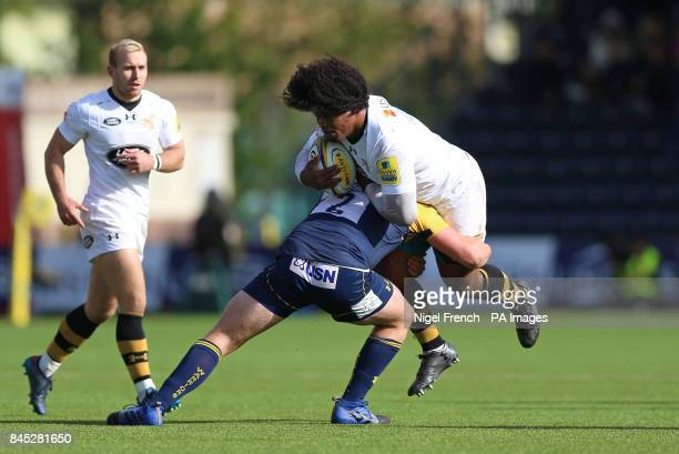 Worcester Warriors' Jack Singleton tackles Wasps' Ashley Johnson during the Aviva Premiership match at the Sixways Stadium Worcester