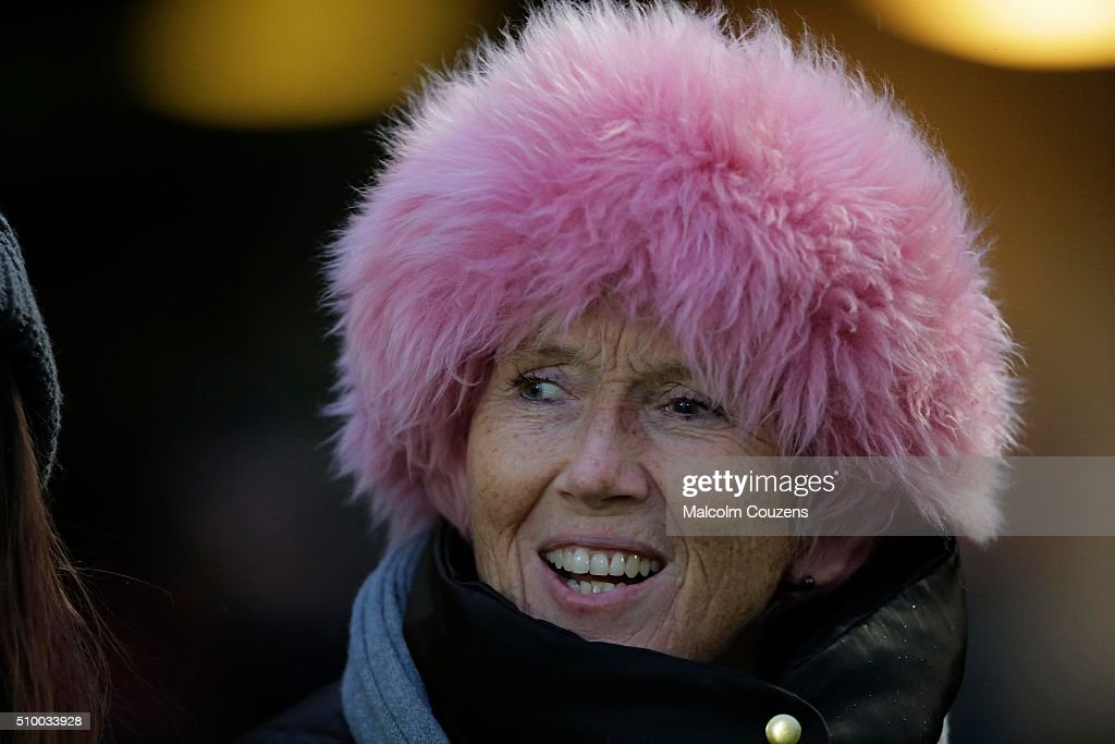 A Worcester Warriors supporter wears a pink hat on a cold day during the Aviva Premiership match between Worcester Warriors and Bath Rugby at Sixways Stadium on February 13,, in Worcester, England