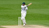 Worcestershire batsman Alex Gidman goes airbourne as he cuts a ball during day two of the Division One LV County Championship match between...