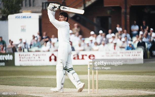Worcestershire batsman Graeme Hick hits out during his 405 not out during the County Championship match between Somerset and Worcestershire on May 6...