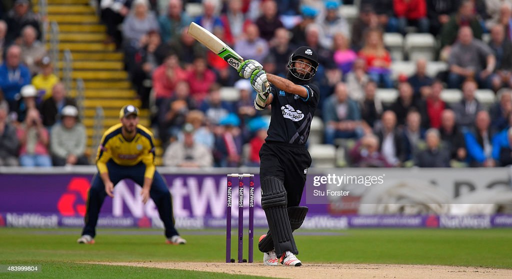 Worcestershire batsman Moeen Ali hits out only to be caught out during the NatWest T20 Blast quarter final match between Worcestershire and Hampshire...