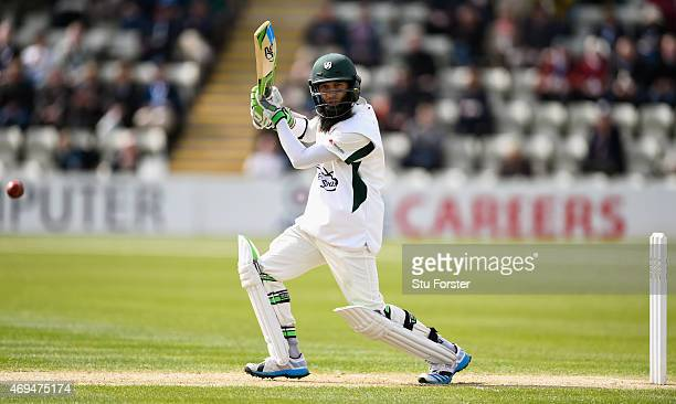 Worcestershire batsman Moeen Ali in action during day one of the LV County Championship Division One match between Worcestershire and Yorkshire at...