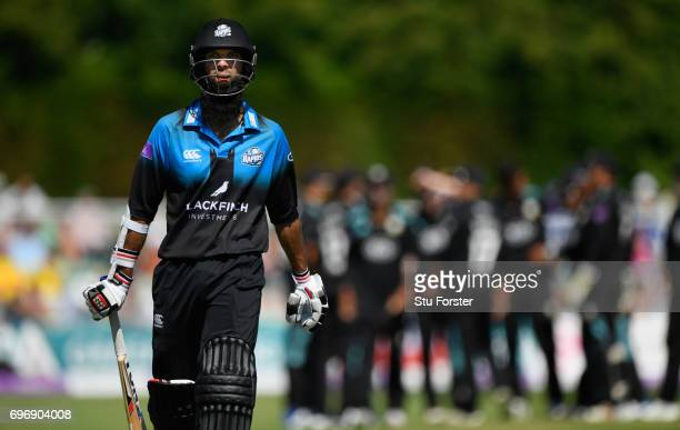 Worcestershire batsman Moeen Ali leaves the field after being dismissed during the Royal London OneDay Cup Semi Final between Worcestershire and...