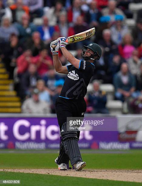 Worcestershire batsman Ross Whiteley hits out in the gloom during the NatWest T20 Blast quarter final match between Worcestershire and Hampshire at...
