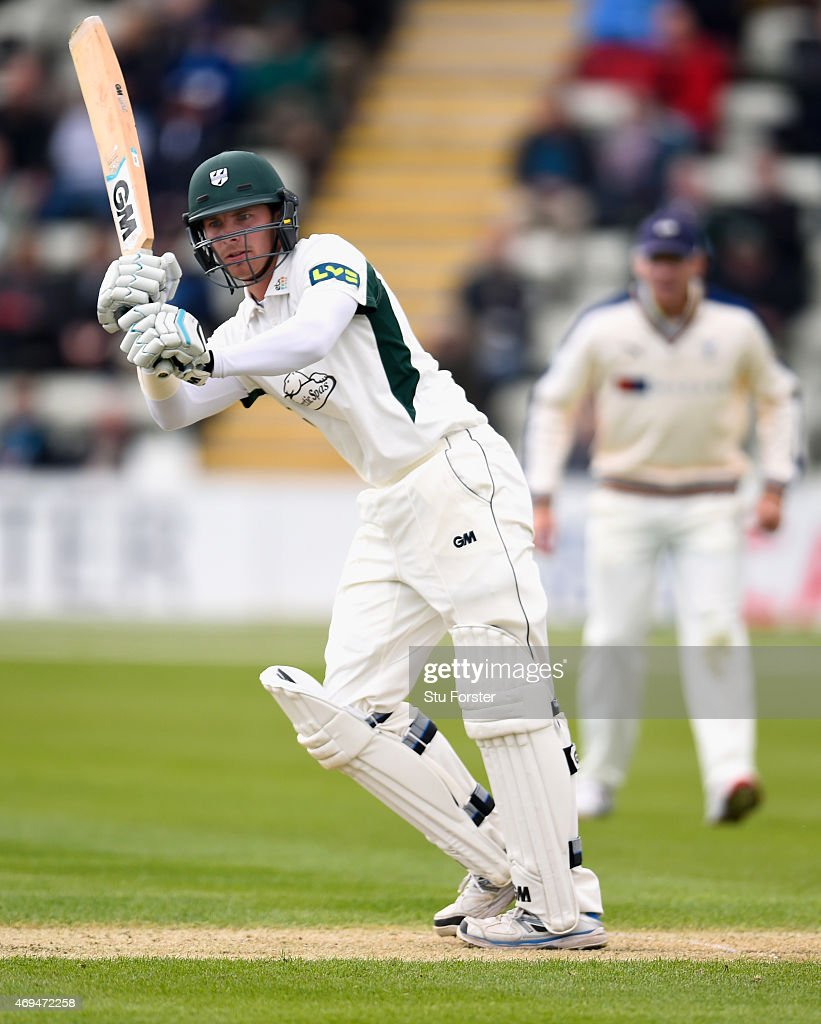 Worcestershire batsman Tom Fell flicks a ball to the boundary during day one of the LV County Championship Division One match between Worcestershire...