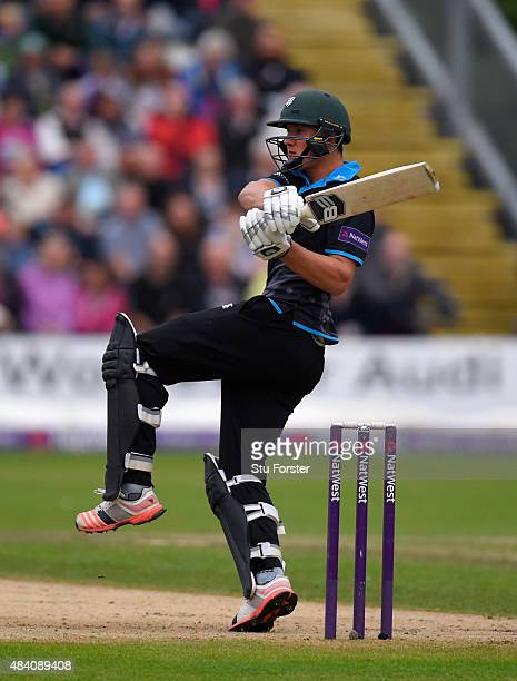 Worcestershire batsman Tom KohlerCadmore hits out during the NatWest T20 Blast quarter final match between Worcestershire and Hampshire at New Road...