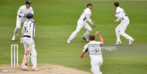 Worcestershire bowler Charlie Morris celebrates as slip fielder Daryl Mitchell catches Yorkshire batsman Will Rhodes for a duck during day two of the...
