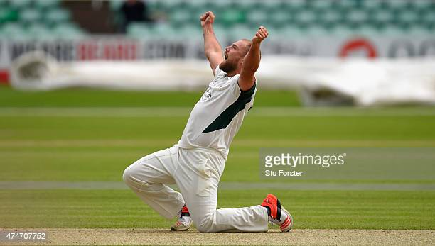 Worcestershire bowler Joe Leach celebrates after taking the wicket of Paul Collingwood during day two of the LV County Championship division one...