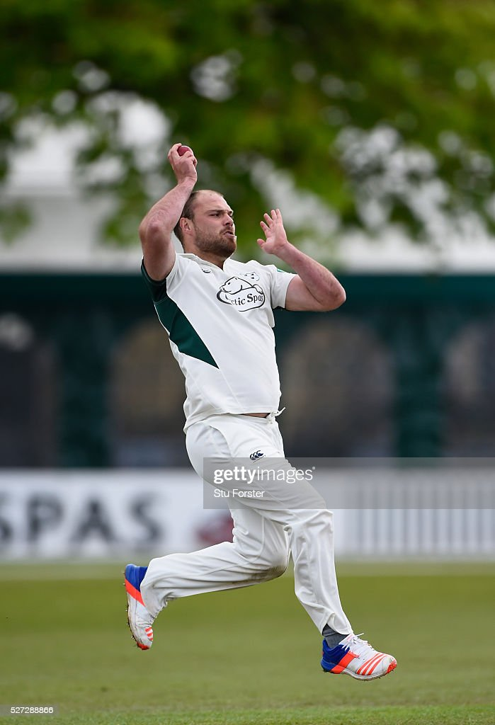 Worcestershire bowler Joe Leach in action during day two of the Specsavers County Championship Division Two match between Worcestershire and Essex at New Road on May 2, 2016 in Worcester, England.