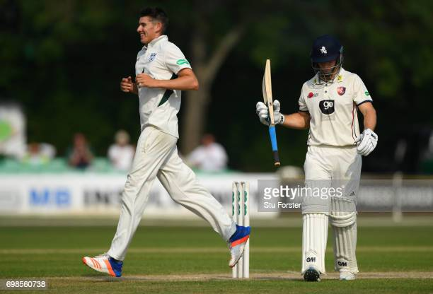 Worcestershire bowler Josh Tongue celebrates after dismissing Sean Dickson of Kent during the Specsavers County Championship Division Two between...