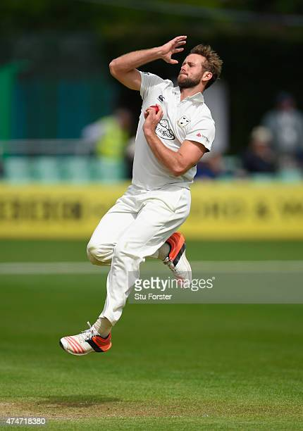 Worcestershire bowler Ross Whiteley in action on day two of the LV County Championship division one match between Worcestershire and Durham at New...
