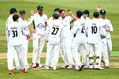Worcestershire celebrate after Ben Cox catches out Sean Ervine of Hampshire off a ball from Ed Barnard of Worcestershire during Day 2 of the LV...