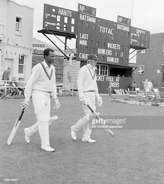 Worcestershire opening batsmen Ron Headley and Glenn Turner prepare to bat in their County Championship match against Hampshire at Portsmouth 5th...