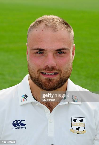 Worcestershire player Joe Leach pictured at the Worcestershire County Cricket photocall prior to the 2015 Season at New Road on April 10 2015 in...