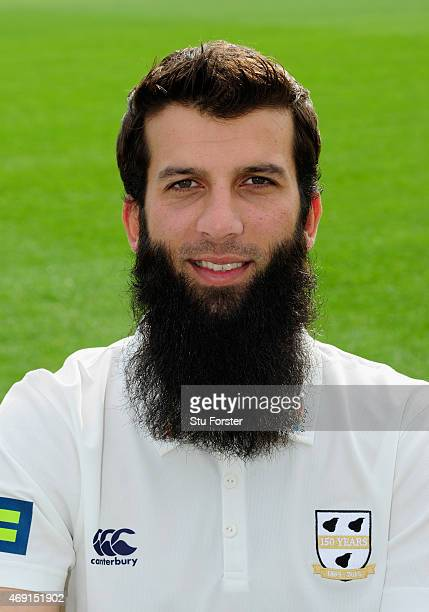 Worcestershire player Moeen Ali pictured at the Worcestershire County Cricket photocall prior to the 2015 Season at New Road on April 10 2015 in...