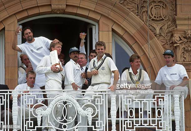 Worcestershire players celebrate on their dressing room balcony after winning the NatWest Bank Trophy Final between Warwickshire and Worcestershire...