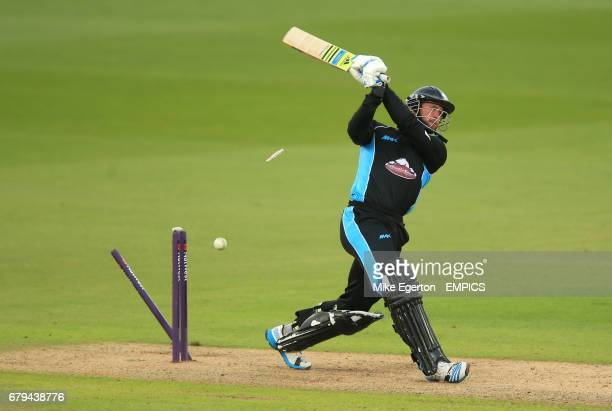 Worcestershire Rapids' Ross Whiteley is clean bowled by Nottinghamshire Outlaws' Ajmal Shahzad