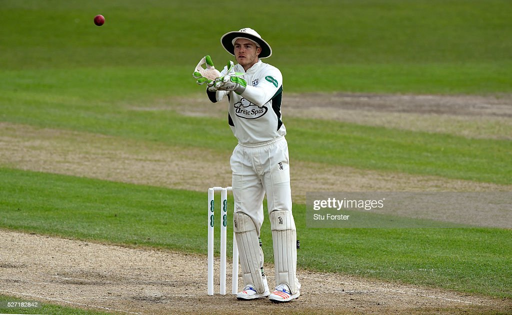 Worcestershire wicketkeeper Ben Cox in action during day two of the Specsavers County Championship Division Two match between Worcestershire and Essex at New Road on May 2, 2016 in Worcester, England.