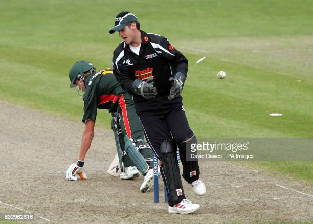 Worcestershire wicketkeeper Steven Davies spins round as Leicestershire's Stuart Broad is bowled by Gareth Batty for 4 during the Friends Provident...