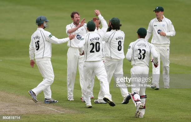 Worcestershire's Alan Richardson celebrates taking the wicket of Gloucestershire's Dan Housego with team mates during day one of the LV County...