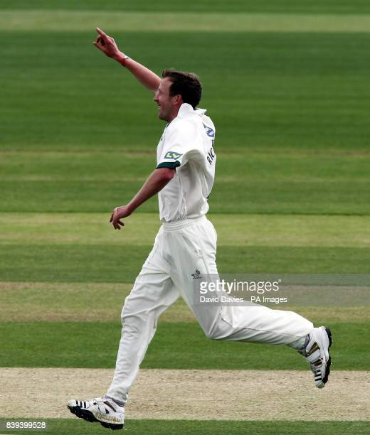 Worcestershire's Alan Richardson celebrates taking the wicket of Warwickshire's Jonathan Trott during the LV County Championship Division One match...