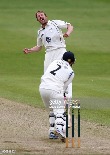 Worcestershire's Alan Richardson celebrates taking the wicket of Gloucestershire's Michael Klinger lbw for 5 during day one of the LV County...