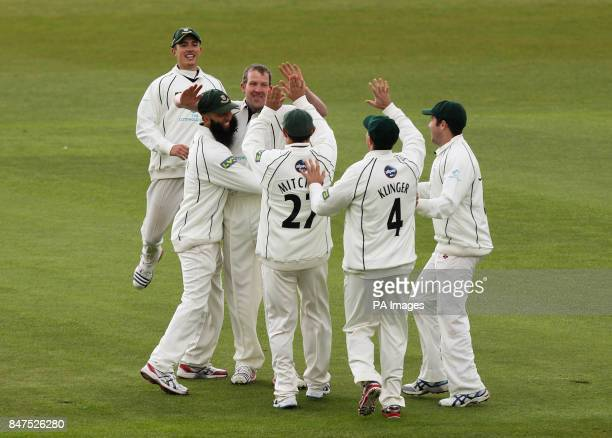 Worcestershire's Alan Richardson celebrates with teammates after taking the first wicket of the day Nottinghamshire's Alex Hales for 4 during the LV...