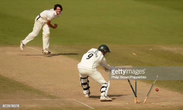 Worcestershire's Alan Richardson is bowled by Warwickshire's Chris Wright as Warwickshire win the LV County Championship Division 1 match between...