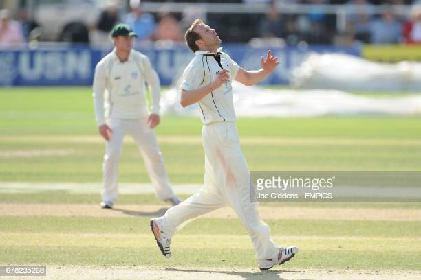 Worcestershire's Alan Richardson reacts while bowling