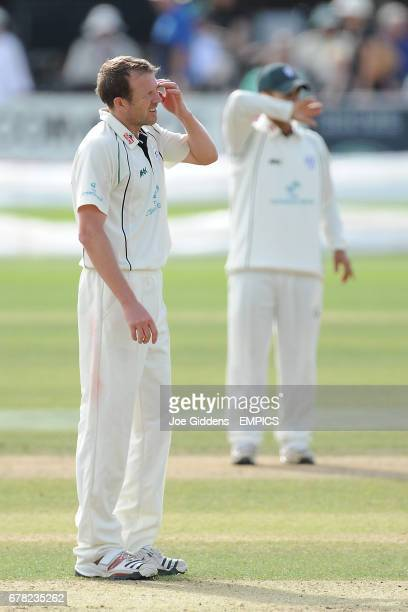 Worcestershire's Alan Richardson stands dejected while bowling