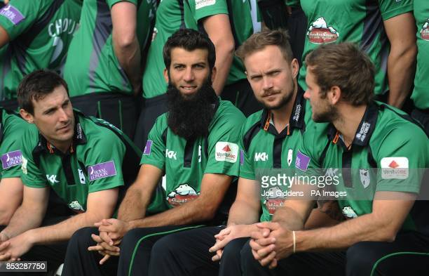 Worcestershire's Daryl Mitchell Moeen Ali Gareth Andrew and Ross Whiteley during the media day at New Road Worcester