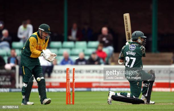 Worcestershire's Daryll Mitchell is bowled by Nottinghamshire's Steven Mullaney during the Friends Provident T20 match at New Road Worcestershire