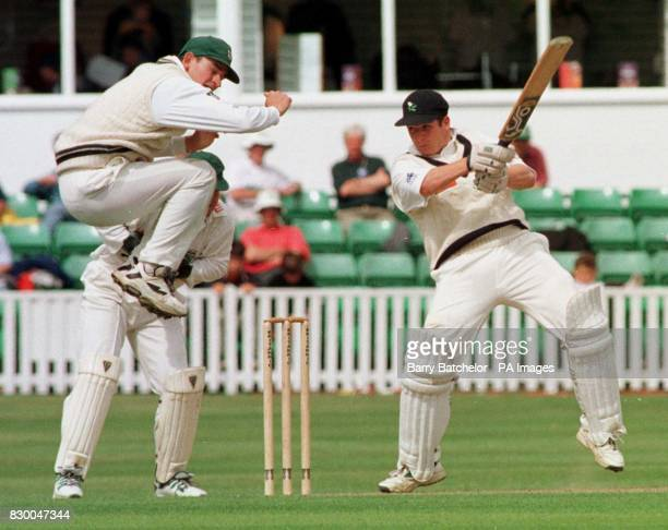 Worcestershire's David Leatherdale jumps to avoid a powerfull shot from Yorkshire's Matthew Wood who went on the score 94 in the Britannic Assurance...