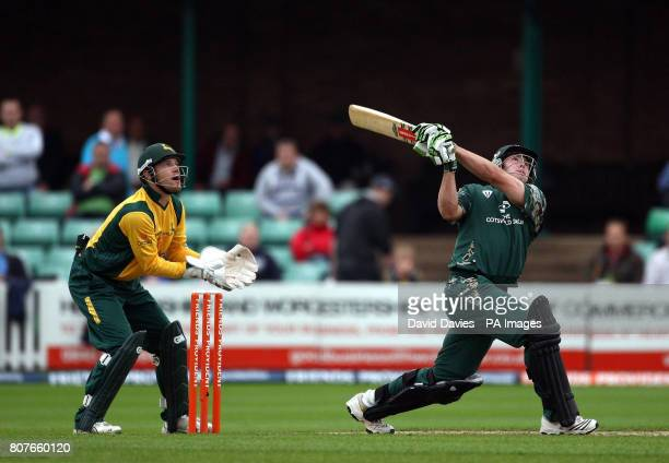 Worcestershire's James Cameron skies a delivery and is caught for 12 by Nottinghamshire's David Hussey off the bowling of Steven Mullaney during the...