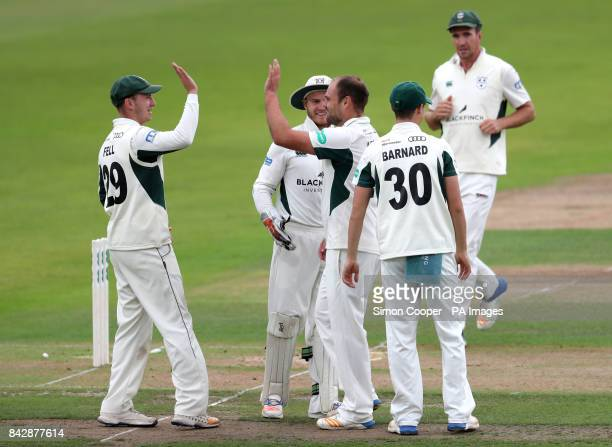 Worcestershire's Joe Leach celebrates taking the wicket of Nottinghamshire's Steven Mullaney during the Specsavers County Championship Division 2...