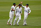 Worcestershire's Ross Whiteley left and team mates celebrates after catching Yorkshire's Alex Lees during day one of the LV County Championship...
