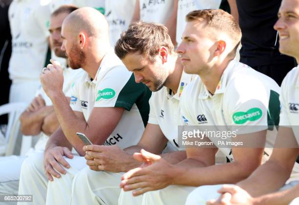 Worcestershire's Ross Whiteley looks at his phone during the media day at New Road Worcester