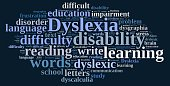 Illustration with word cloud about dyslexia