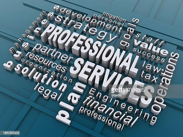 3D word cloud of professional services words