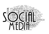 Social media terms are creating word cloud on isolated white background.