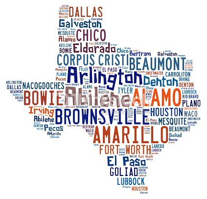 Word Cloud Showing The Cities In Texas Stock Photo Thinkstock - Map of texas showing cities