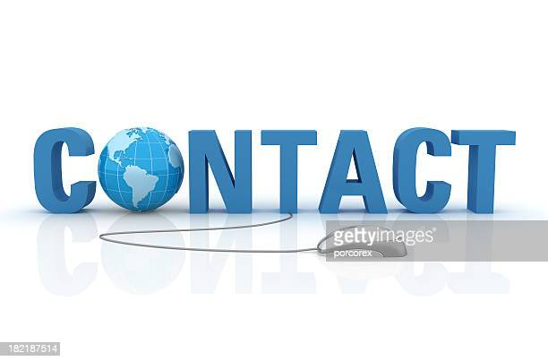 3D Word Contact with Earth Globe and Computer Mouse