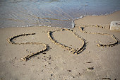 SOS - word drawn on the sand beach with the soft wave.